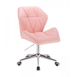 Kosmetická židle MILANO MAX na stříbrné podstavě s kolečky - růžová