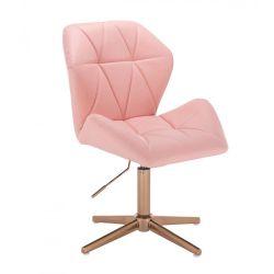 Kosmetická židle MILANO MAX na zlatém kříži - růžová