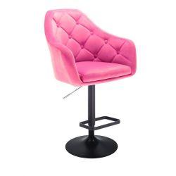 Barová židle ANDORA VELUR  na černém talíři - růžová