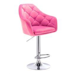 Barová židle ANDORA VELUR  na stříbrném talíři - růžová