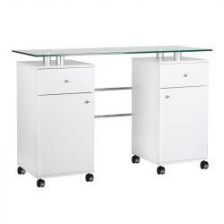 Kosmetický stůl MT-33 se skleněnou deskou - bílý