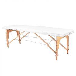 Skládací dřevěný masážní stůl COMFORT 3 SEGMENT -  bílý
