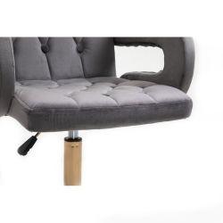 Kosmetická židle BOSTON VELUR na stříbrné podstavě s kolečky - šedá