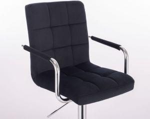 Kosmetická židle VERONA VELUR na stříbrné podstavě s kolečky - černá