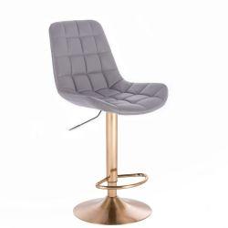 Barová židle PARIS na zlatém talíři  - šedá