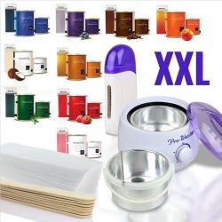 Depilační sada - 2x ohřívač vosku + 1x vosk 400ml + 1x vosk 100ml + 100 pásků + 5x špachtle (A)