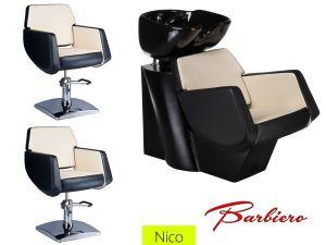 Kadeřnický set 2+1 NICO černo-béžový (AS)