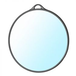 Kulaté kadeřnické zrcadlo s rukojetí - černé (AS)