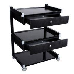 Mobilní stolek s 3 policemi a dvěma zásuvkami HUMMER Black (K)