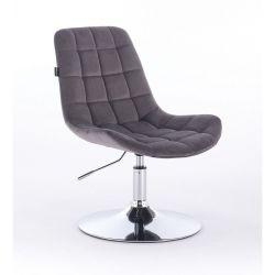 Židle na kulaté podstavě HR590N velur - grafitová (V)
