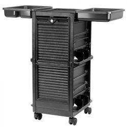 Uzavřený pojízdný kadeřnický stolek  700 - černý