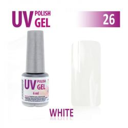 26.UV gel lak hybridní WHITE bílý 6 ml (A)