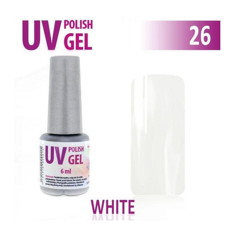 26.UV gel lak hybridní WHITE bílý 6 ml