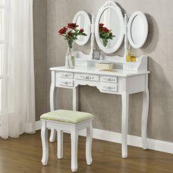 Toaletní stolek ELSA se 3 zrcadly, 7 zásuvek + taburet - bílá