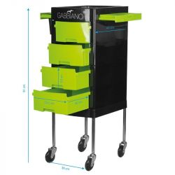 GABBIANO Kadeřnický úložný stolek FT65-1 černo/zelená