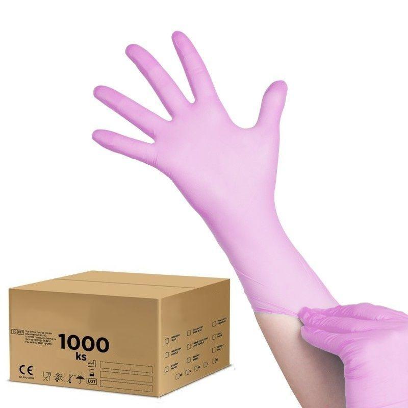 Jednorázové nitrilové rukavice růžové  XL - karton 10ks