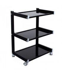 Pojízdný stolek se 3 policemi černý (K)