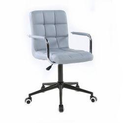 Kosmetická židle 1015KP na černé podstavě s kolečky - šedá