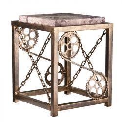 Kovová stolička s řetězy - staré zlato